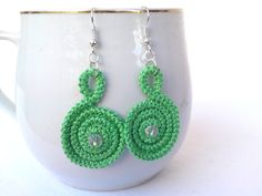 Mintgreen spiral earrings romanian point lace by TinyOrchids