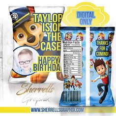 Paw Patrol Theme Birthday Personalized Favor Bag -Candy Bag-Chip Bag- Party Bag-Popcorn Bag Paw Patrol Party, Paw Patrol Birthday, Popcorn Bags, 4th Birthday, Birthday Ideas, Chip Bags, Candy Bags, Personalized Favors, Custom Bags