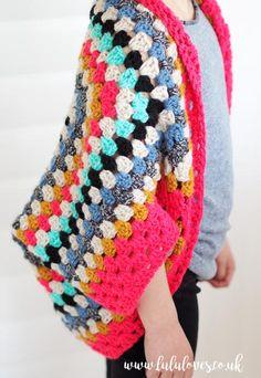 Lululoves - Modern Bright Rainbow Crochet Granny Square Shrug. Crochet pattern on blog :)