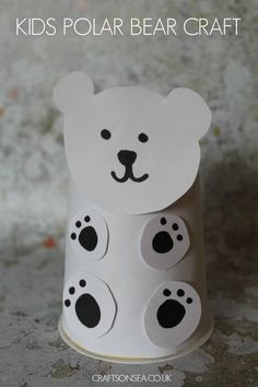 Cute upcycled polar bear craft for kids - perfect for learning about climate change eyfs