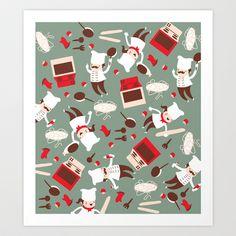 Chef pattern Art Print by Maria Jose Da Luz - $15.00