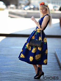 Blue Floral Sleeveless Cropped Top With High Waist Skirt Suit | Choies