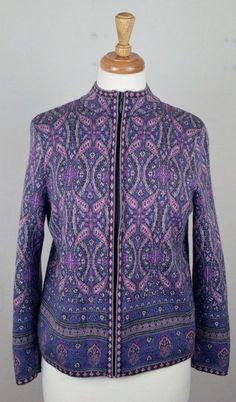 PENDLETON Women's Purple & Gray Full Zip 100% Wool Cardigan Sweater Medium P #Pendleton #fullzipcardigan