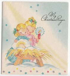Vintage Little Girl with Candle at Manger Christmas Greeting Card