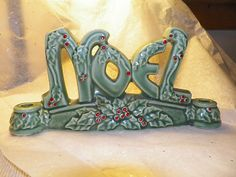 "Unique Vintage ""NOEL"" Ceramic Candle Holder XMAS Lefton | eBay"