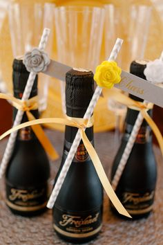 Mini bottles - super cute wedding favor idea http://www.theperfectpalette.com/2014/04/a-glitzy-and-glam-art-deco-inspired.html