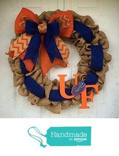 Burlap Gator Wreath Florida Gators UF Football Orange and Blue Door Decor Door hanger Christmas Gift from 365 Holidays https://smile.amazon.com/dp/B01E5VD98E/ref=hnd_sw_r_pi_awdo_0uMYxbFZRD7B0 #handmadeatamazon