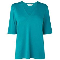 L.K. Bennett Lorna Lyocell Cotton Jersey Tops ($69) ❤ liked on Polyvore featuring tops, green, women, v-neck jersey, cotton jersey, blue green tops, elbow length sleeve tops and v-neck tops