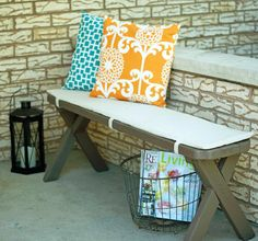 Porch staging/styling:  Pillows. Seating. Magazines. Solar lantern.  It's all about making your home look like a place to relax and enjoy. #Joyceteam.com
