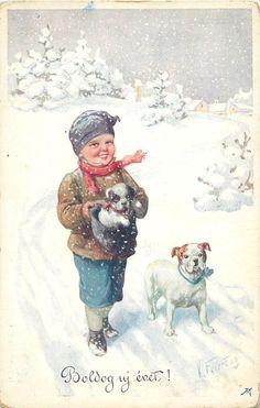 Karl Feiertag signed New Year greetings Hungary winter fantasy boy bulldog puppy. Pinned by Judi Crowe.