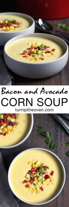 This simple, silky corn soup can be served either hot or cold. Top it with plenty of crumbled bacon, diced avocado, and tomatoes! Fall Recipes, Soup Recipes, Dinner Recipes, Cooking Recipes, Healthy Recipes, Party Recipes, Summer Recipes, Corn Soup, Soup And Salad