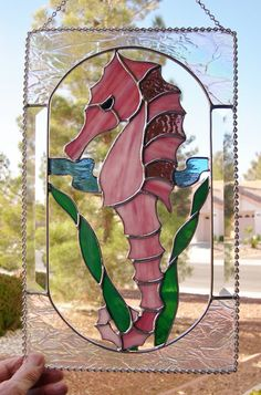 Stained Glass Sea Horse panel