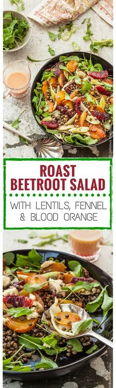 Even on the coldest and dreariest winters day, this beautiful vegan Roast Beetroot Salad with Lentils, Fennel and Blood Orange  with a Blood Orange Dressing will brighten up your day. And your palate!