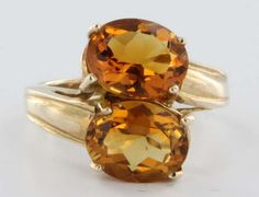 Estate Citrine 10 Karat Yellow Gold Bypass Cocktail Ring Band Fine Heirloom Pre Owned Jewelry 2015 Trends, Orange, Yellow, Cocktail Rings, Band Rings, Diamond Rings, Gems, Bling, Shades