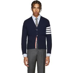 Thom Browne Navy Cashmere Cardigan (2,410 NZD) ❤ liked on Polyvore featuring men's fashion, men's clothing, men's sweaters, navy, mens striped sweater, mens shawl collar cardigan sweater, mens colorful sweaters, mens short sleeve sweater and mens cashmere cardigan sweater