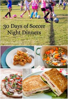 30 quick dinner ideas for your busiest Soccer Nights 30 Days of Soccer Night Dinners: Feeding your family when you don't have time to breathe! I'm saving this for Dance Night, Church class Night, and Tutoring Night, too! Make Ahead Meals, Quick Meals, Kids Meals, Easy Family Dinners, Fast Dinners, Night Dinner Recipes, Dinner Ideas, Meal Ideas, Weeknight Meals