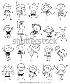 Drawing Sketch - Group Of Kids Royalty Free Cliparts, Vectors, And Stock Illustration. Image Drawing Sketch - Group Of Kids Royalty Free Cliparts, Vectors, And Stock Illustration. Doodle Drawings, Cartoon Drawings, Easy Drawings, Drawing Sketches, Drawing Cartoon People, Drawing Drawing, Drawing For Kids, Art For Kids, Sketching For Kids