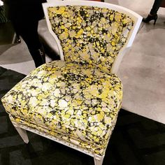 The Helen #chair from our @tobifairley for CR Laine collection dressed in fabric On The Rocks Limoncello and a custom @benjaminmoore painted finish was part of our Fall 2016 collection. (📸: @iceinteriordesign )