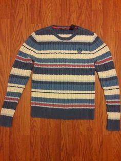 Liz Claiborne Women Sweater Top Medium Stripes #LizClaiborne #Crewneck