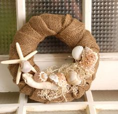 Burlap Sea Shell Wreath small by The Salvaged Home on Etsy
