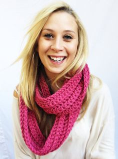 Raspberry CIRCLE SCARF  Deep Pink Comfy Vibrant by theyarnival, $27.00
