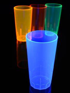 Schwarzlicht Neon Longdrinkglas wiederverwendbar Blau  #blacklight #schwarzlicht #makeup #neon #party #dishes #glass #cup