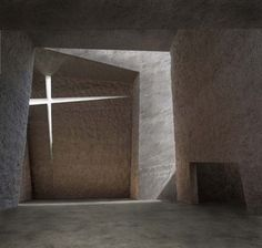 Completed in 2008 by Spanish architect Fernando Menis of Menis Arquitectos,Church in La Laguna, Tenerife, comprises four chunky concrete volumes separated from one another by sliced openings, with. Sacred Architecture, Church Architecture, Religious Architecture, Amazing Architecture, Contemporary Architecture, Interior Architecture, Interior Design, Dezeen Architecture, Concrete Architecture