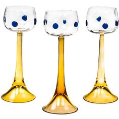 Koloman Moser Wine Glasses Vienna Secession Meyr's Neffe | From a unique collection of antique and modern glass at https://www.1stdibs.com/furniture/dining-entertaining/glass/