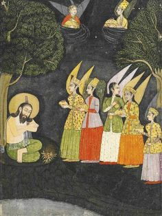 An 18th-century miniature depicting the Sufi saint Sultan Ibrahim ibn Adham of Balkh visited by angels.