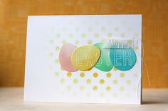 SSS Balloon dies were used to create these cute Easter eggs, and the Medium Polka Dot stencil was used for the background.