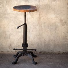 Same attractive and height adjustable metal base as the Tractor Seat Stool but with a reclaimed wood seat that looks as though it once belonged under a piano player in a smoky New Orleans jazz club. ...