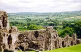 "Denbigh Castle--It was this view from the castle wall where Angie and I realized Britain actually has that ""shire"" look with fields separated by hedgerows and stone walls."