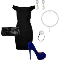 little black dress with a pop of blue in the shoe