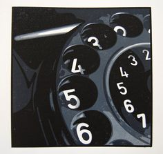 W48 - Dial Telephone ~Linocut by Alexandre Bourgois