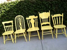 Vintage Dining Chairs, Set of 6, Mix and Match,Yellow, Vintage Chairs, Spindle Chairs, Shabby Chic Kitchen Chairs (Los Angeles)