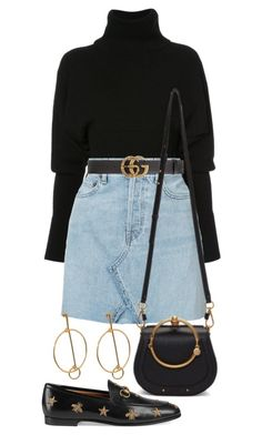 """Untitled #2617"" by mariie0h ❤ liked on Polyvore featuring Creatures of the Wind, RE/DONE, Gucci and Chloé"