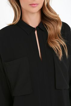 Fast Forward Black Long Sleeve Top