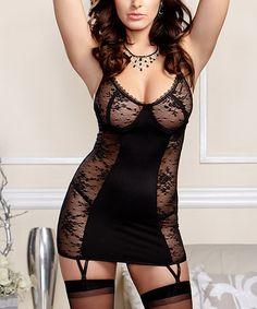 This Black Lace Scoop Garter Slip & G-String - Women & Plus is perfect! #zulilyfinds