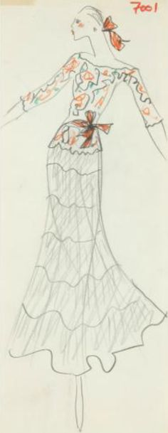 Fashion drawing by Yves Saint Laurent (1936-2008), Study for a dress, pencil and colored pencil on paper.