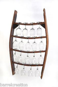 Wine Barrel Stave Wine Glass Rack Holds 18 Wine Glasses , Wall Mount Made By WBC