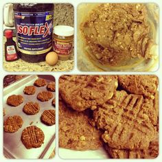 Muffin Top-Less Peanut Butter Protein Cookies 1 Cup Natural PB (could sub almond butter, I used crunchy) 1.5 Scoops Vanilla Protein Powder  1 Egg (flax egg?) 1 teaspoon Vanilla Extract 1/2 Cup Sugar Substitute (I used Stevia) 1/2 teaspoon Vanilla Creme Liquid Stevia 1 Tablespoon Water Mix the wet ingredients first, then add the peanut butter. Once its combined, slowly add in the protein powder. Pre-heat oven to 350. Spray a baking pan with Pam or o