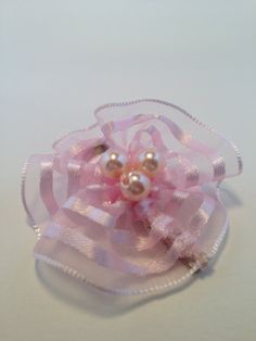 Pink Organza Hair Clip w/ Pearls by OmaDesigns on Etsy