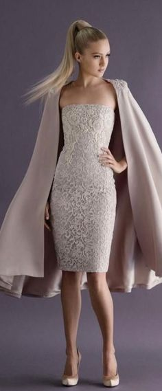 Flesh coloured strapless shift dress with knee length cape by Paolo Sebastian Couture Collection A/W 2014