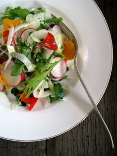 my darling lemon thyme // shaved fennel, nasturtium and radish salad with honey mustard dressing