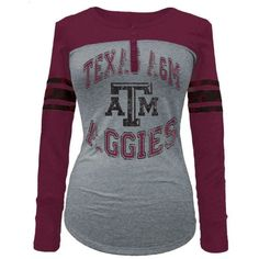 5th & Ocean Women's Texas A & M Aggies Vintage Raglan T-Shirt ($36) ❤ liked on Polyvore featuring tops, t-shirts, grey, grey t shirt, raglan sleeve shirts, ripped t shirt, striped t shirt and raglan t shirt