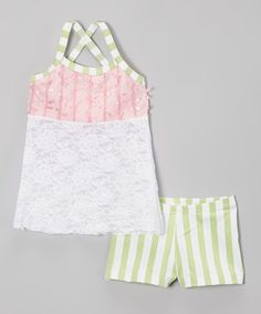 Loving this Pink Lace Tank & Green Stripe Shorts - Girls on #zulily! #zulilyfinds