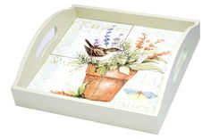 Herb Garden 4-Tile Wood Tray with Handles , 43197CTD | Lang