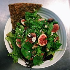 honey and fig salad with rocket, basil, pickled shallot, activated hazelnuts, our Little Bird macadamia feta and onion bread Pickled Shallots, Fig Salad, Onion Bread, Seaweed Salad, Pickles, Feta, Basil, Honey, Bird