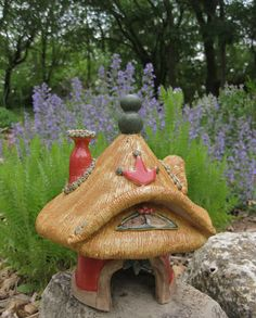 Free Shipping Handbuilt Ceramic Fairy Toad House by ClaySoul