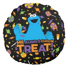 Cookie Monster - Me Always Choose Treat Round Pillow